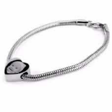 Photo & Message Engraved Snake Chain Heart Charm Bracelet